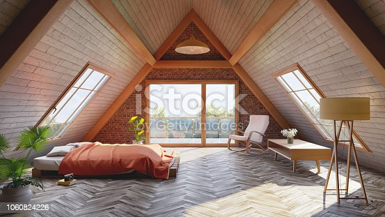 Loft attic bedroom concept