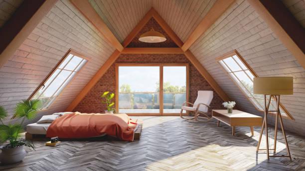 Loft attic bedroom concept Loft attic bedroom concept attic stock pictures, royalty-free photos & images