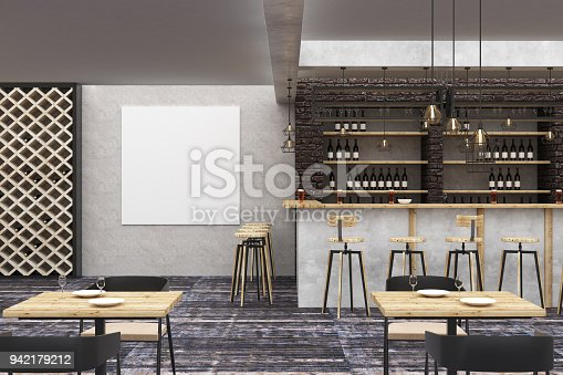istock Loft bar/pub with clean poster 942179212