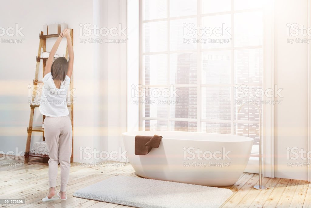 Loft bathroom corner, white tub, shelves toned royalty-free stock photo