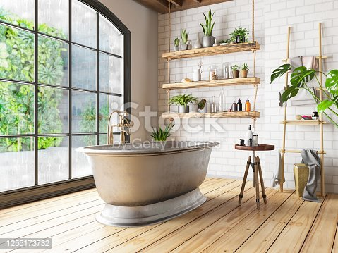 Bathtub in the loft interior