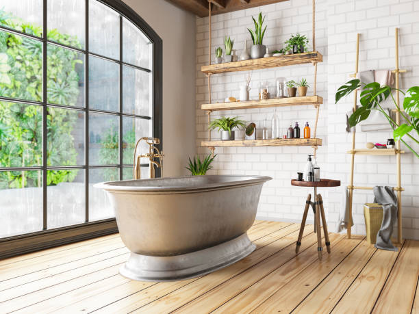 banheiro loft - banheiro doméstico - fotografias e filmes do acervo