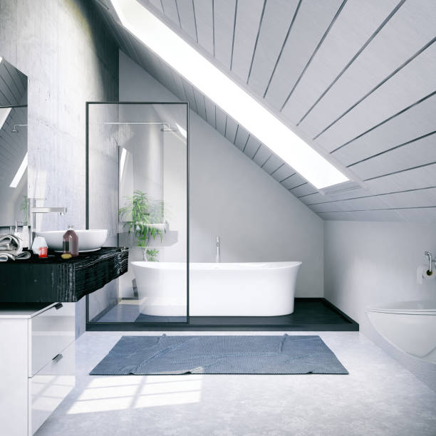 Loft Bathroom Bathtub in the modern interior domestic bathroom stock pictures, royalty-free photos & images