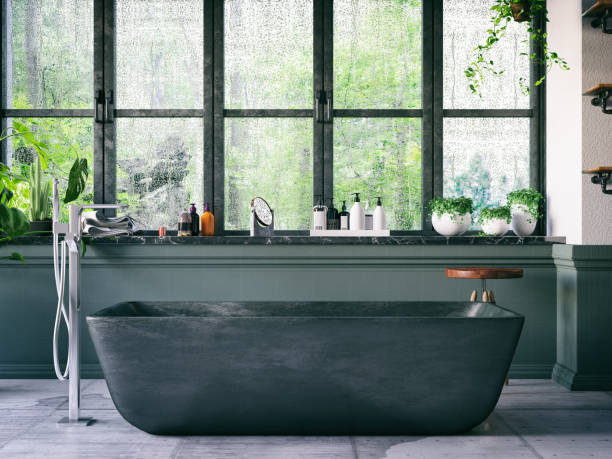 Loft Bathroom Bathtub in the loft interior domestic bathroom stock pictures, royalty-free photos & images