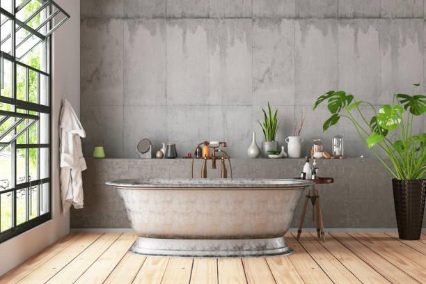Loft Bathroom with Plants stock photo