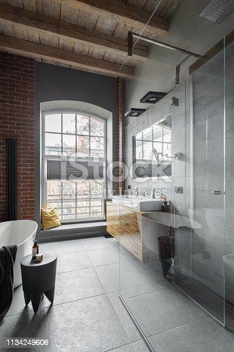 istock Loft bathroom with wooden ceiling 1134249606