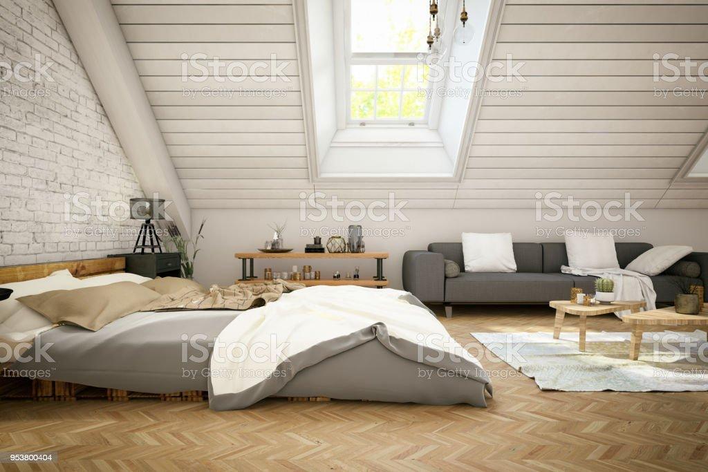 Loft Chambre Dans Le Grenier Photo Libre De Droits