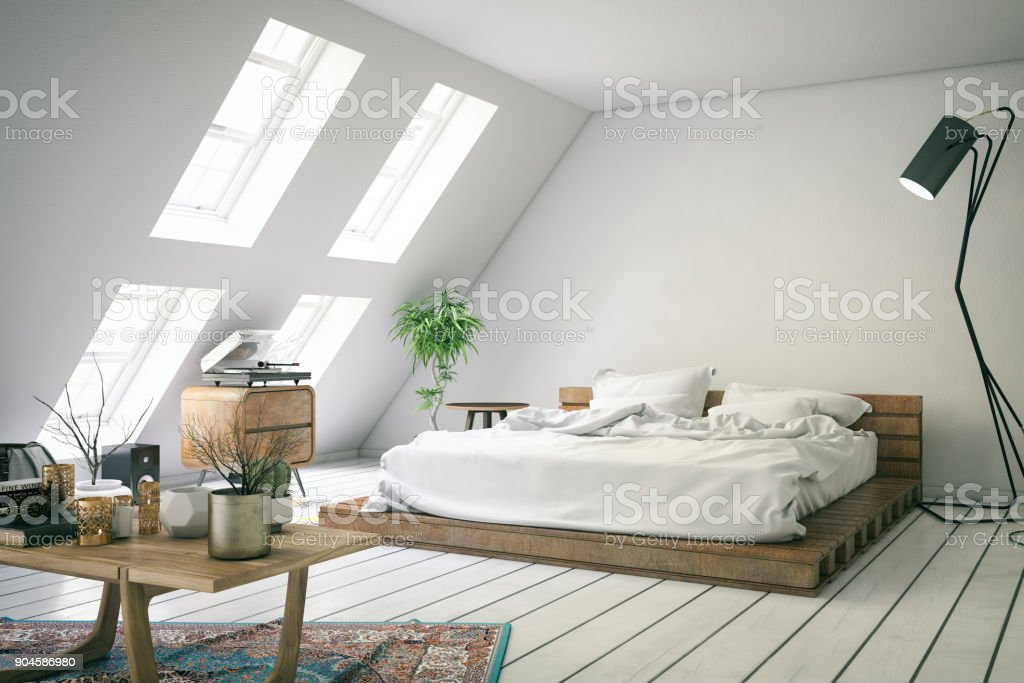 Loft Bedroom stock photo