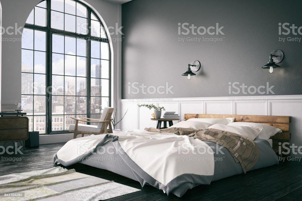 Dormitorio tipo Loft foto de stock libre de derechos