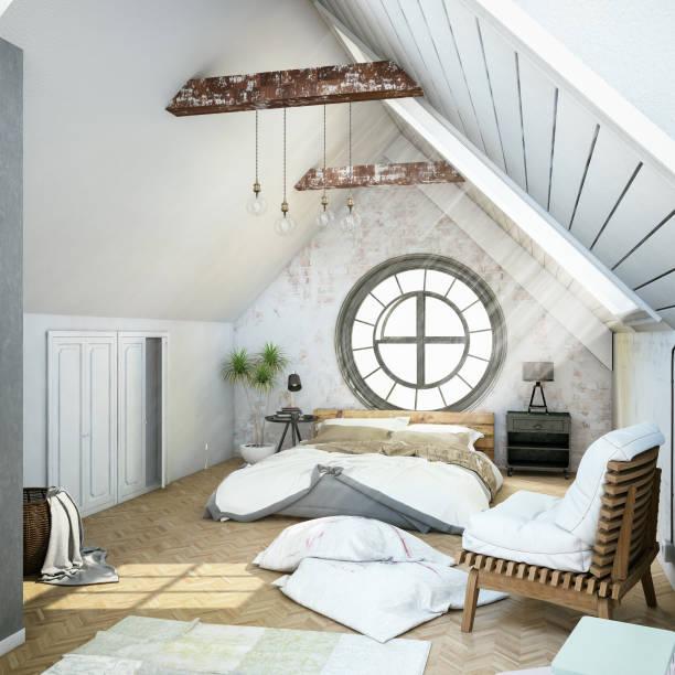loft-schlafzimmer - schmaler tisch stock-fotos und bilder