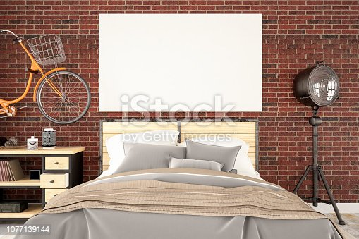 istock Loft Bedroom with Bicycle and Blank Canvas 1077139144