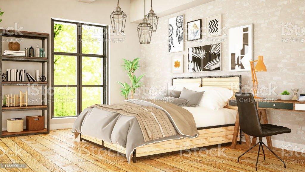 Loft Schlafzimmer Mit Rahmen Und Schreibtisch Stockfoto und mehr Bilder von  Altertümlich