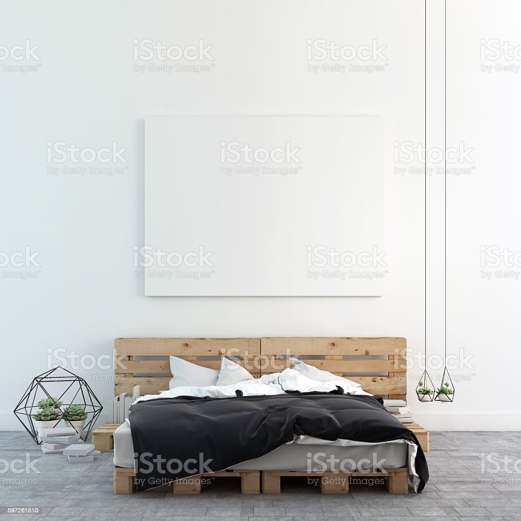 Loft bedroom with mock up photo canvas / 3D rendering stock photo