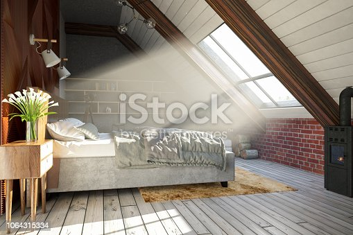 Loft room with cozy design.