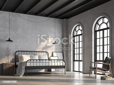 istock Loft bedroom with white brick wall 3d render 1056863986