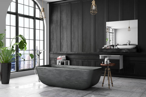 Loft Black Bathroom - foto stock