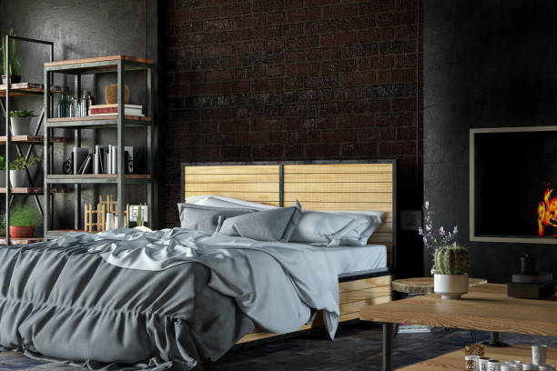 loft schwarz schlafzimmer - shabby deko stock-fotos und bilder