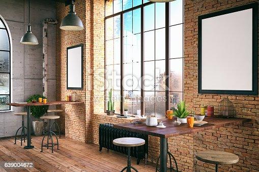 Loft style cafe decoration