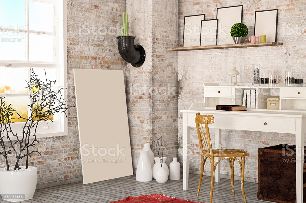 Loft Designed Working Space stock photo