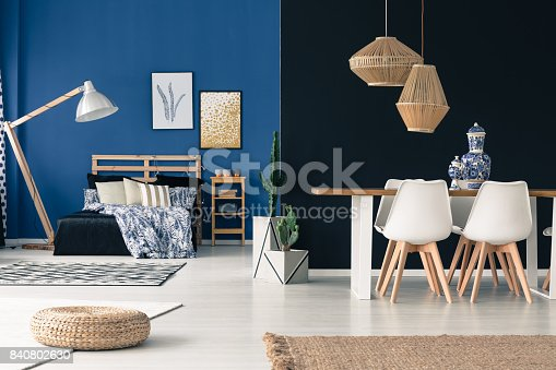 508860888 istock photo Loft in shades of blue 840802630