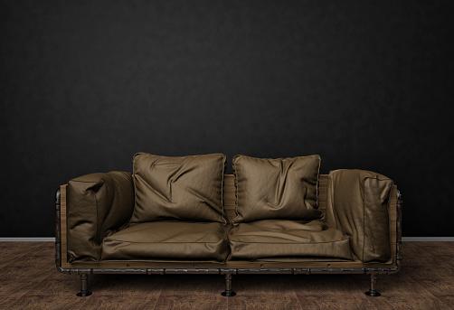 Mockup Foto Loft Interieur Braune Ledercouch Minimalistischen Stil Hintergrundfoto Mit Textfreiraum Für Text Schwarze Wand Und Holzboden 3d