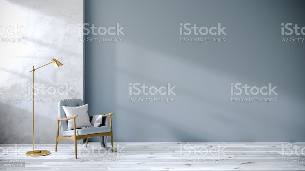 loft  interior of living room, Blue armchairs on white flooring and blue wall  ,3d rendering