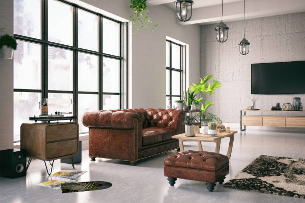 loft interior - retro decor stock photos and pictures