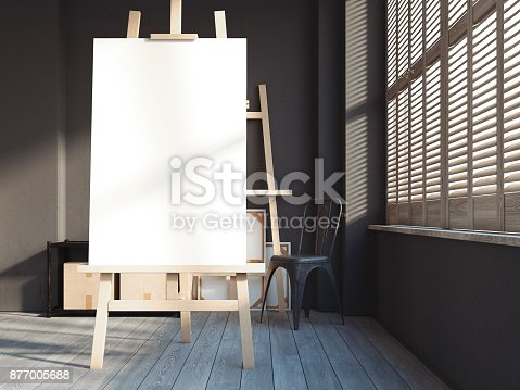 istock Loft interior with easel. 3d rendering 877005688