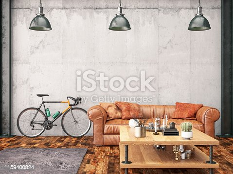 istock Loft Interior with Leather Sofa and Bicycle 1159400824