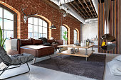 istock Loft Interior with Leather Sofa and Furnitures 1299845842