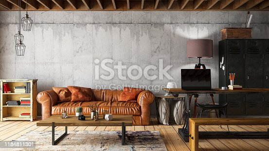 Loft Interior with Leather Sofa. 3D Render