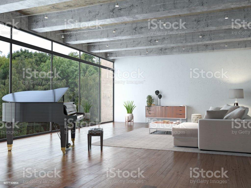 Loft-Interieur mit Klavier – Foto