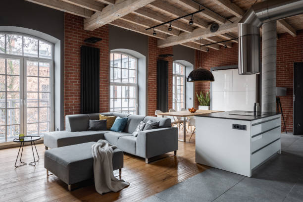 Loft interior with wooden ceiling stock photo