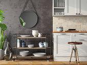Loft Kitchen Interior. 3d Render
