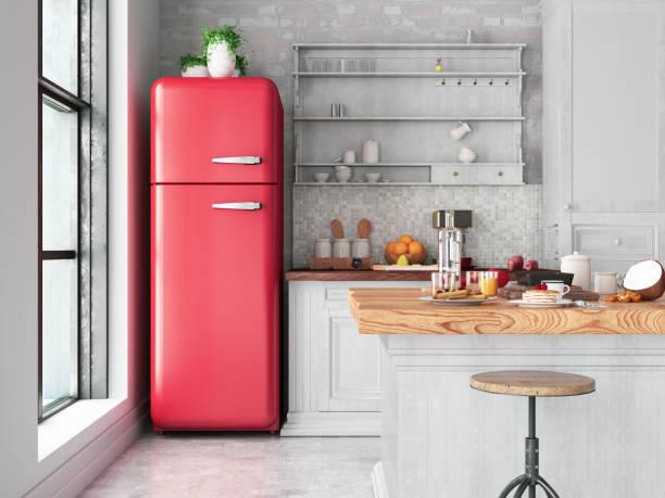 Loft Kitchen Loft kitchen design fridge stock pictures, royalty-free photos & images