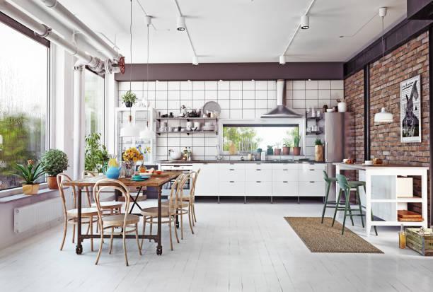 loft küche - offene regale stock-fotos und bilder