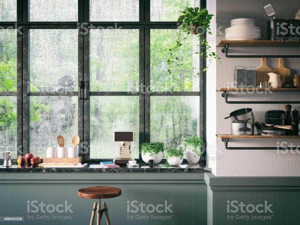 Loft Kitchen stock photo