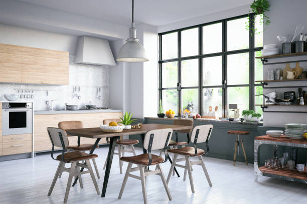 loft kitchen - domestic kitchen stock photos and pictures