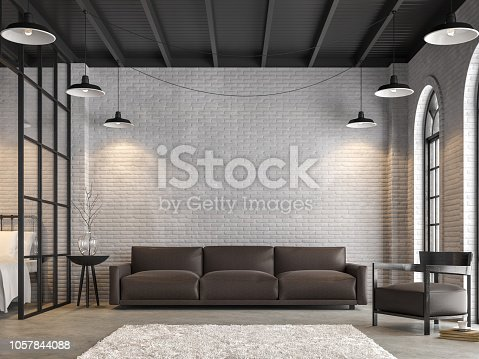 istock Loft living room and bedroom 3d render 1057844088