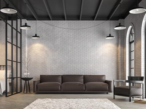 Loft living room and bedroom 3d render