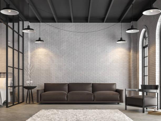 loft-salon et chambre à coucher rendu 3d - architecture intérieure beton photos et images de collection