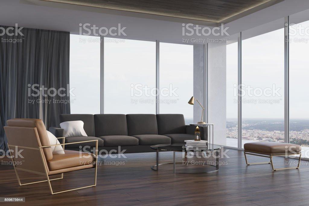 Loft Wohnzimmer Graue Couch Und Sessel Seite Stockfoto und mehr Bilder von  Behaglich