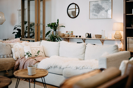 Loft living room interior with modern, stylish and cozy design