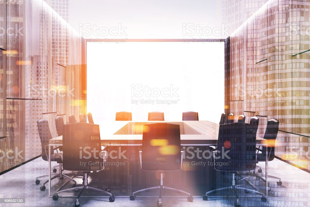 Loft meeting room interior, square table toned stock photo