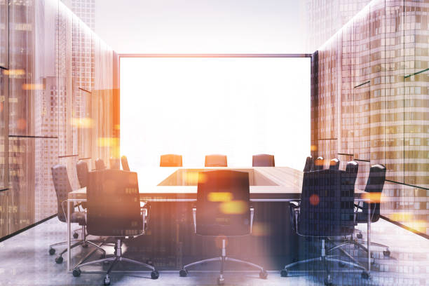 Loft meeting room interior, square table toned stock photo