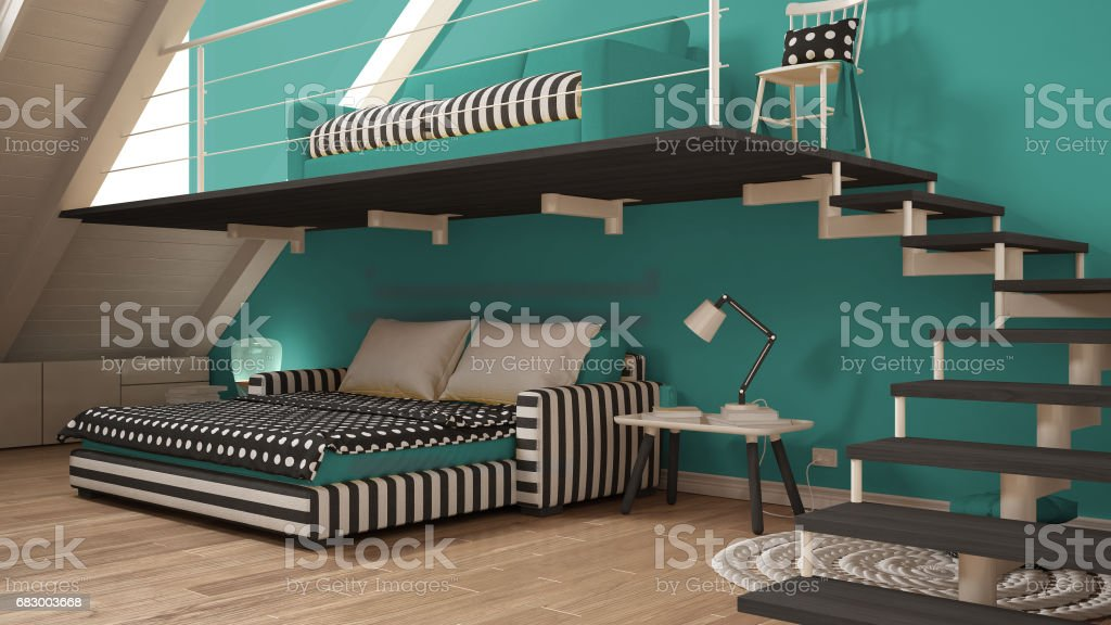Loft mezzanine one room minimalist living and bedroom, white and turquoise scandinavian interior design foto de stock royalty-free