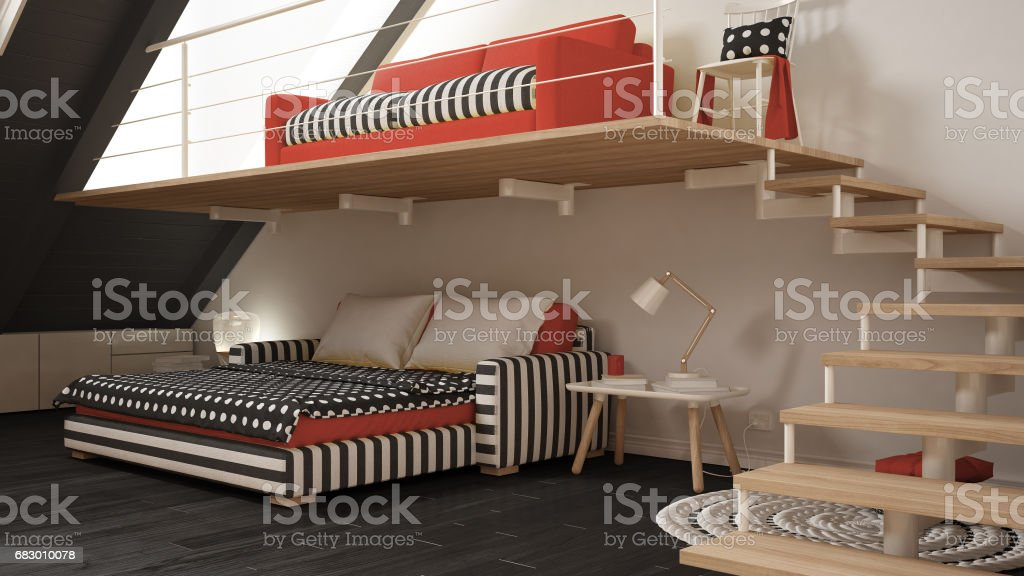 Loft mezzanine one room minimalist living and bedroom, white and red scandinavian interior design foto de stock royalty-free