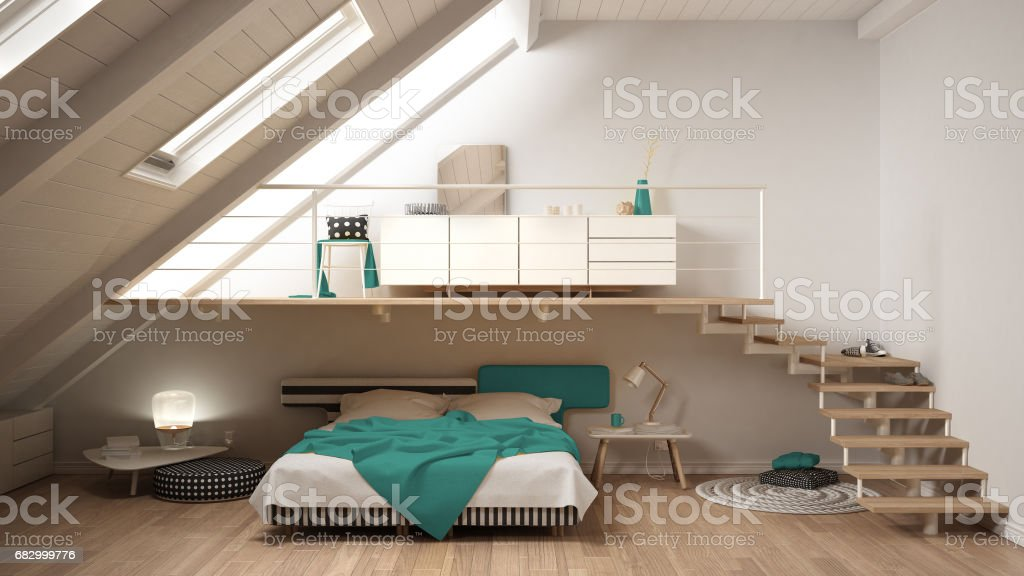 Loftmezzanine Skandinavische Minimalistische Schlafzimmer ...