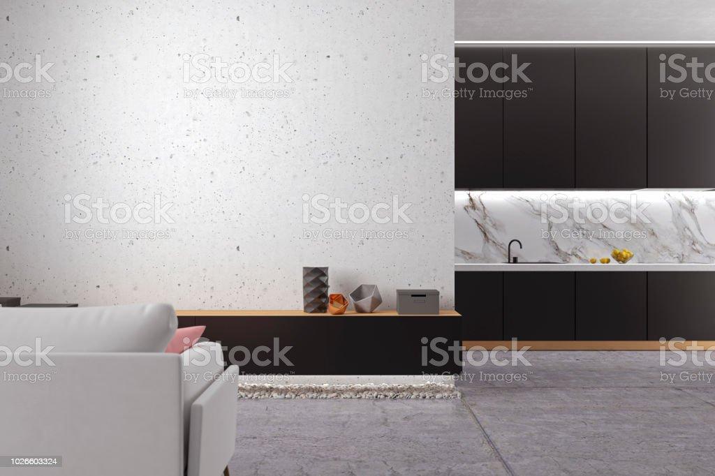 Loft Minimalistic White Living Room With Concrete Floor, Kitchen, Sofa.  Stock Photo