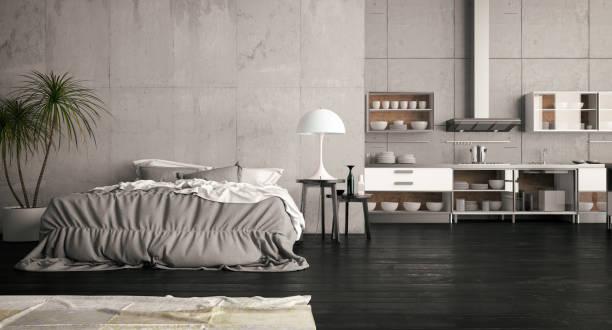 offene loft-schlafzimmer mit küche - shabby deko stock-fotos und bilder